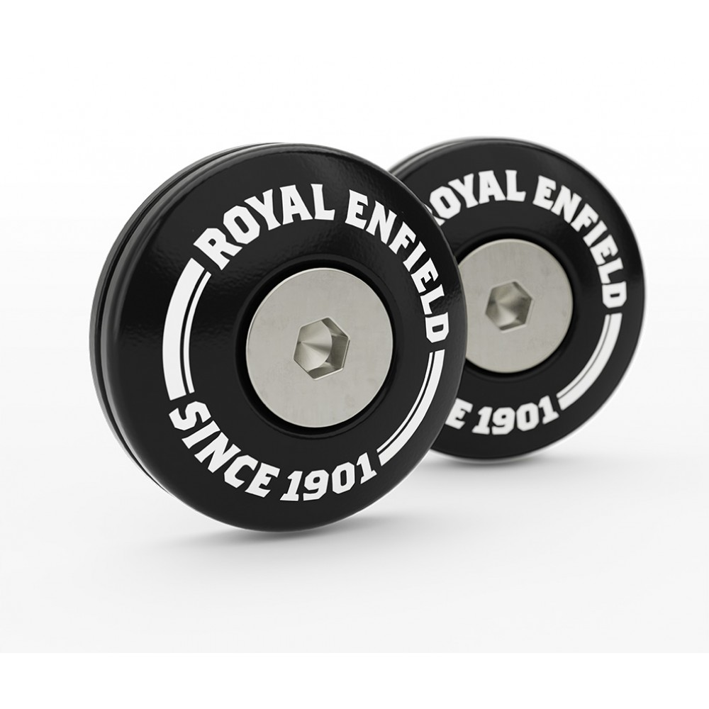 Machined Bar End Finisher Kit, Black - Royal Enfield