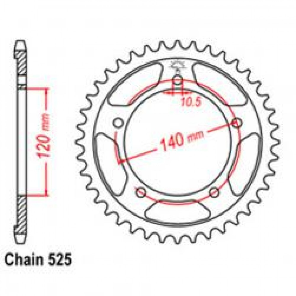 43T 525 REAR SPROCKET - TRIUMPH MOTORCYCLE
