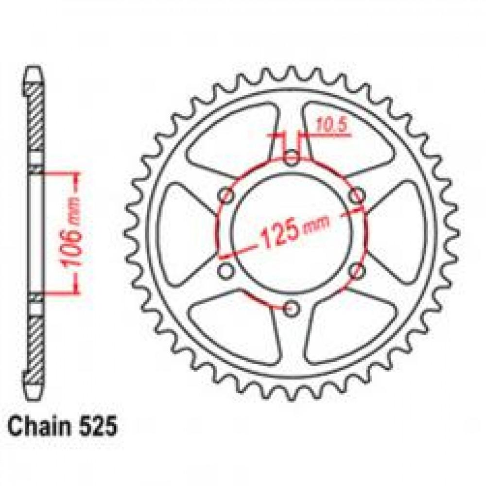 42T 525 REAR SPROCKET - TRIUMPH MOTORCYCLE