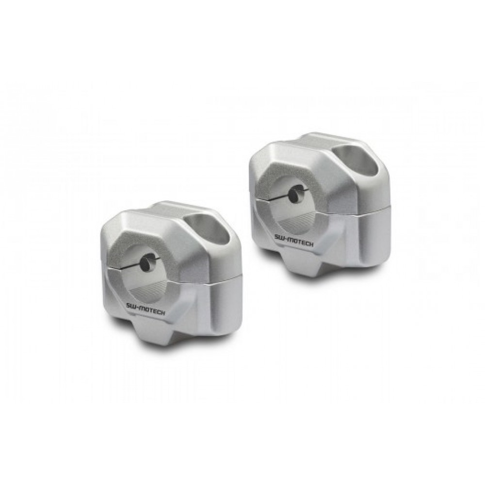 HANDLEBAR RISERS FOR 22MM Ø BARS, 20MM H SILVER - UNIVERSAL