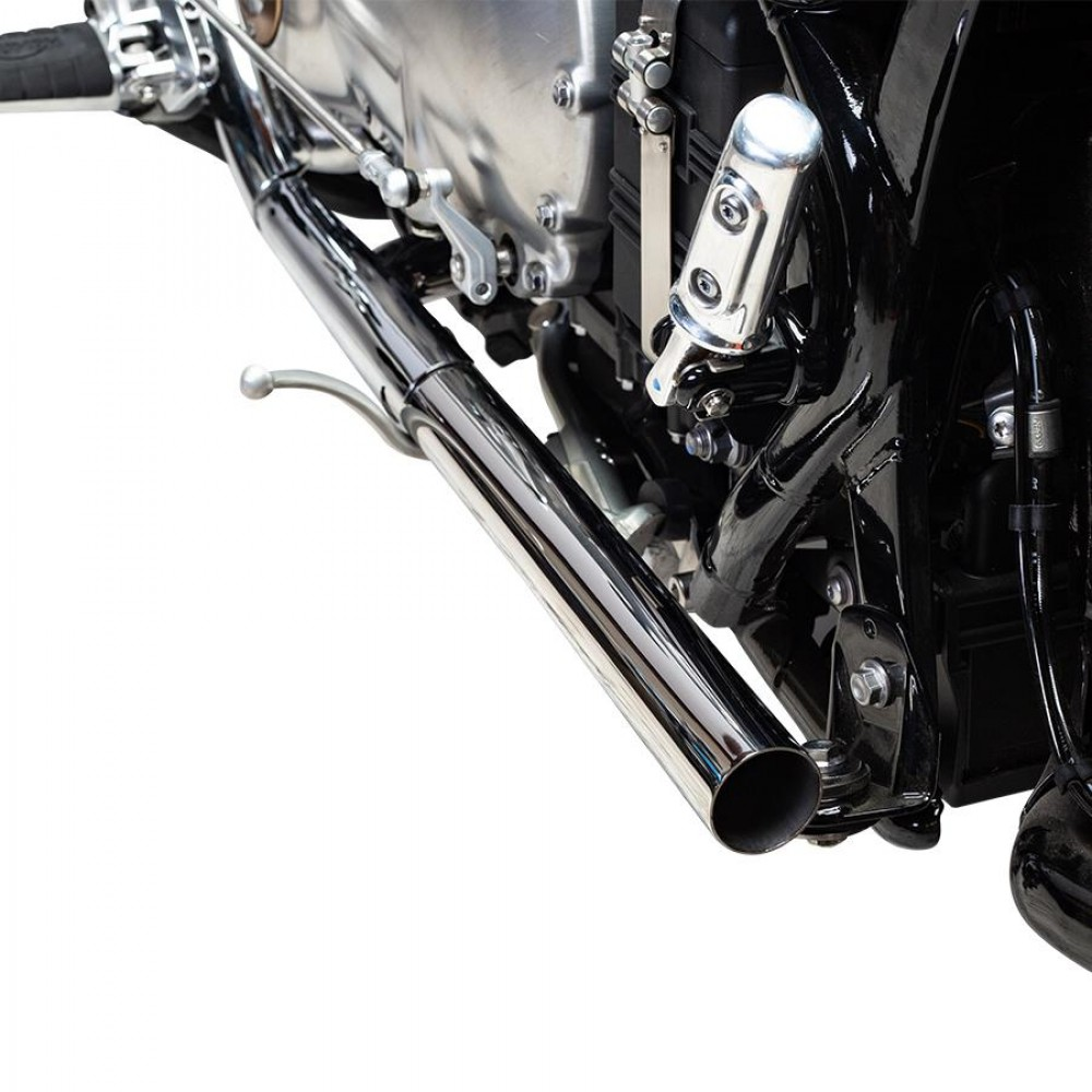 British Customs Straight Pipe Performance Tips Polished - BOBBER & SPEEDMASTER